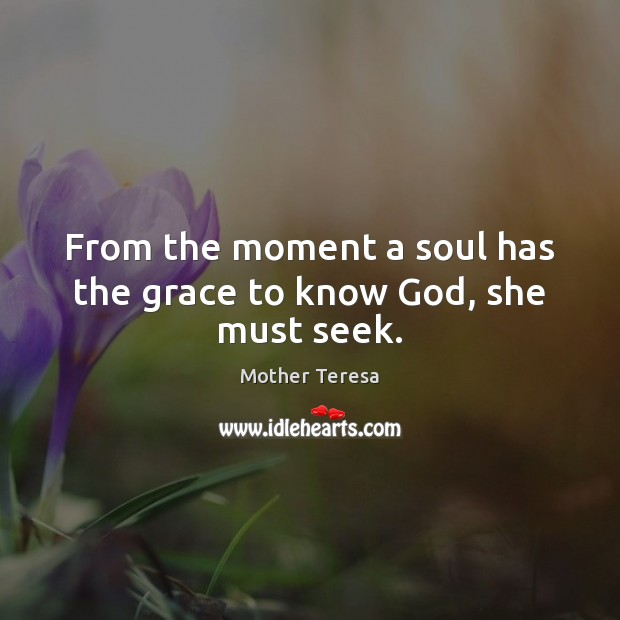 Image, From the moment a soul has the grace to know God, she must seek.