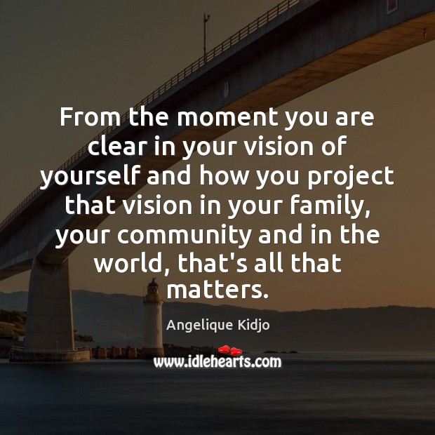 From the moment you are clear in your vision of yourself and Image