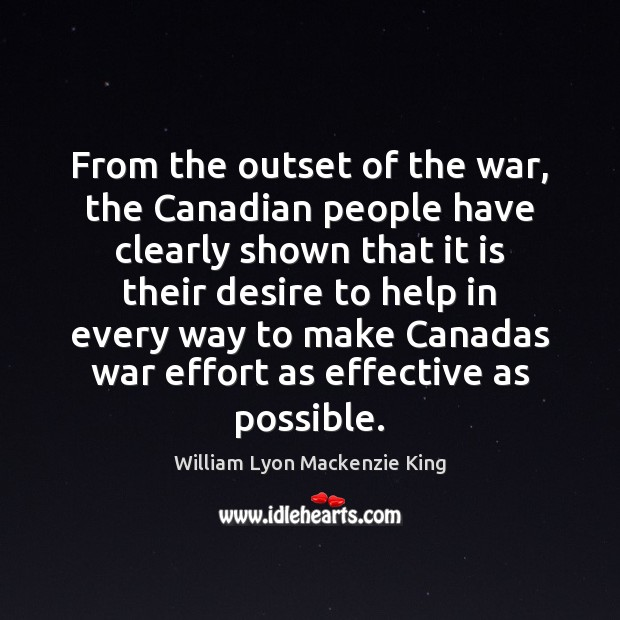 From the outset of the war, the Canadian people have clearly shown Image