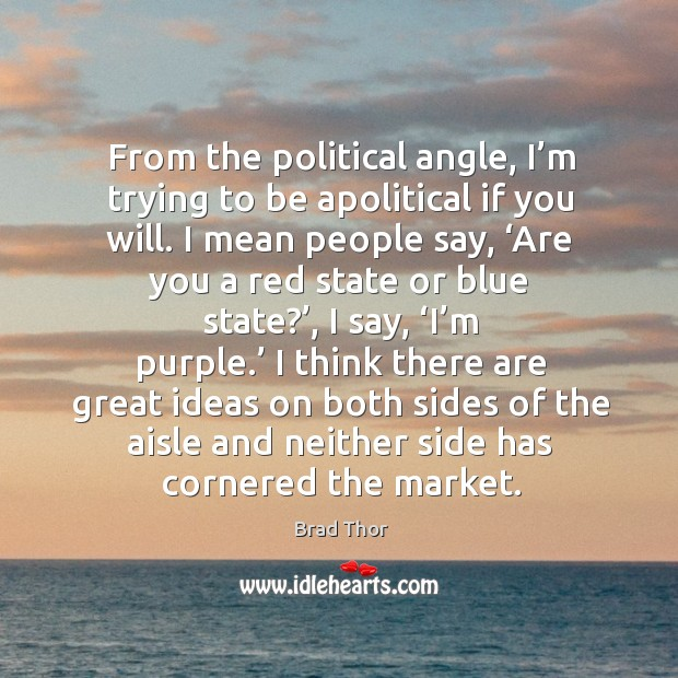 From the political angle, I'm trying to be apolitical if you will. I mean people say Brad Thor Picture Quote