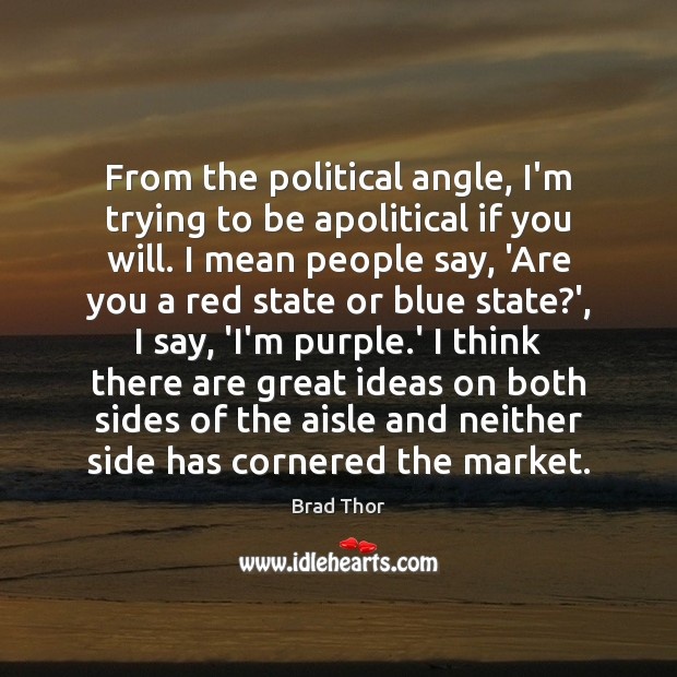 From the political angle, I'm trying to be apolitical if you will. Brad Thor Picture Quote