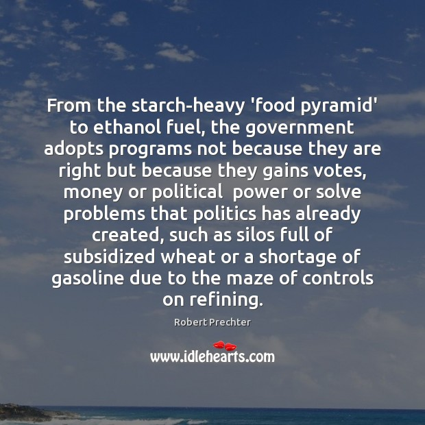 From the starch-heavy 'food pyramid' to ethanol fuel, the government adopts programs Image