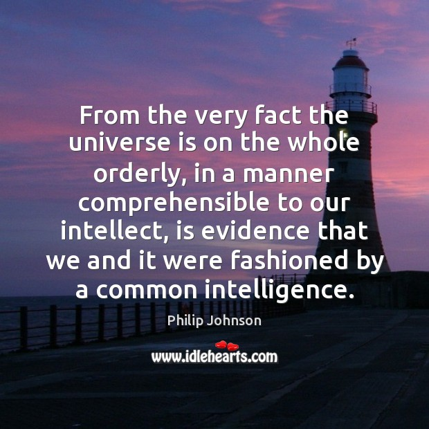 From the very fact the universe is on the whole orderly, in Image