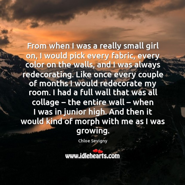 From when I was a really small girl on, I would pick every fabric, every color on the walls Chloe Sevigny Picture Quote