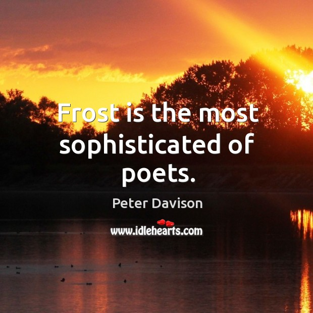 Frost is the most sophisticated of poets. Image
