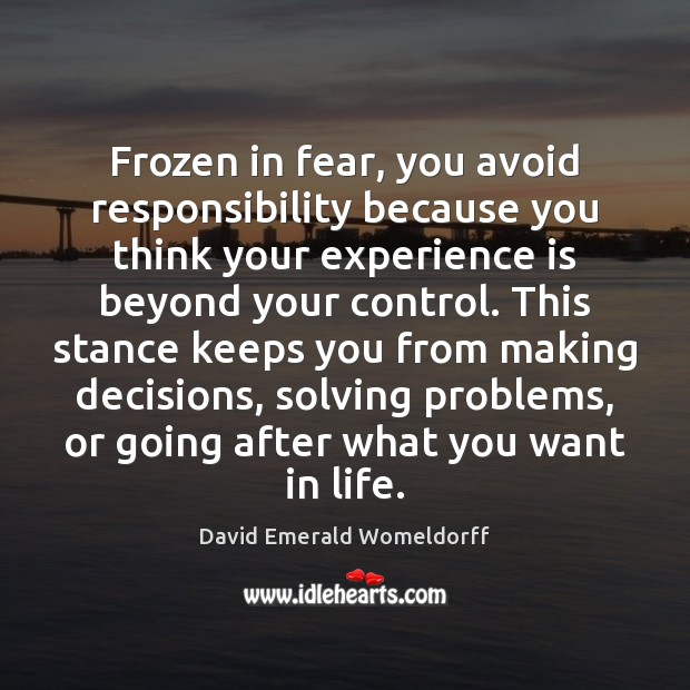Frozen in fear, you avoid responsibility because you think your experience is David Emerald Womeldorff Picture Quote