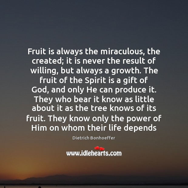 Fruit is always the miraculous, the created; it is never the result Dietrich Bonhoeffer Picture Quote