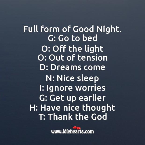 Good Night Full Form Idlehearts