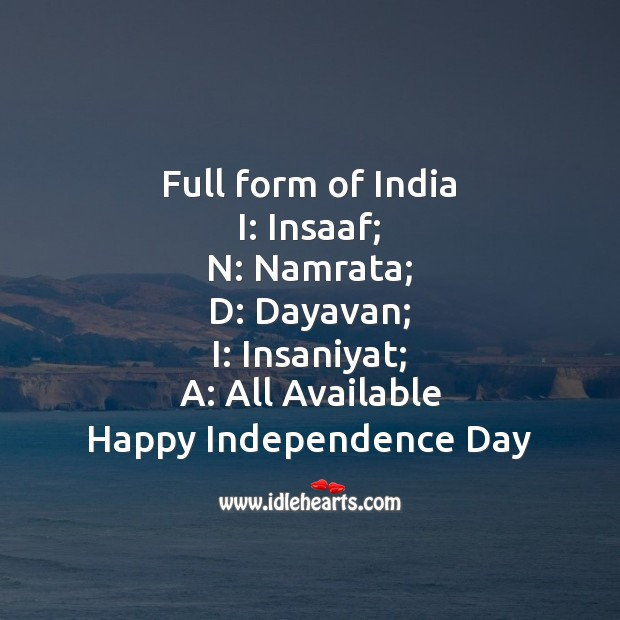 Full form of india Independence Day Quotes Image