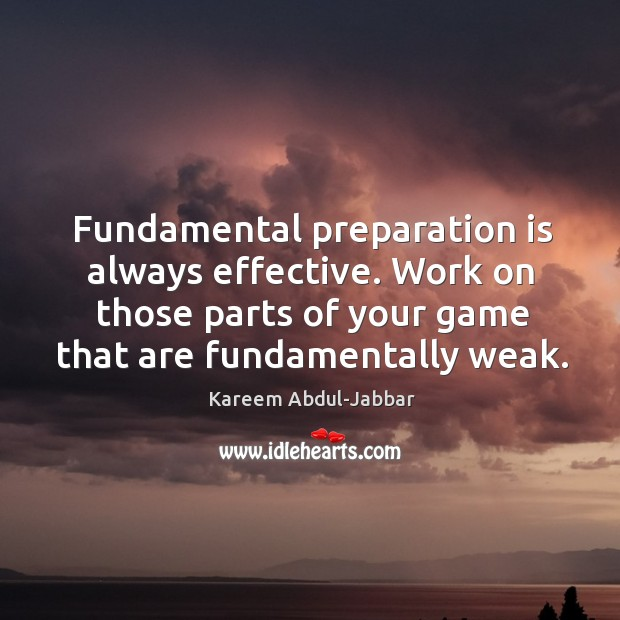 Image, Fundamental preparation is always effective. Work on those parts of your game that are fundamentally weak.