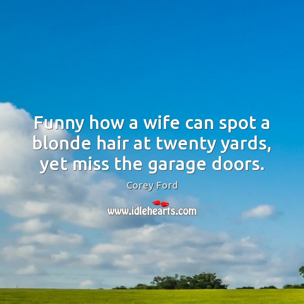 Image, Funny how a wife can spot a blonde hair at twenty yards, yet miss the garage doors.