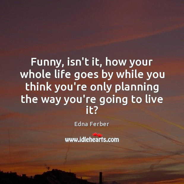 Funny, isn't it, how your whole life goes by while you think Edna Ferber Picture Quote