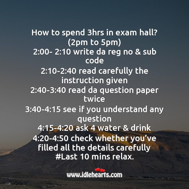 Funny way to spend 3 hrs in exam hall Funny Messages Image