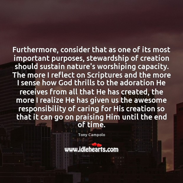 Image, Furthermore, consider that as one of its most important purposes, stewardship of