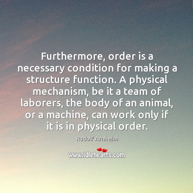 Image, Furthermore, order is a necessary condition for making a structure function.