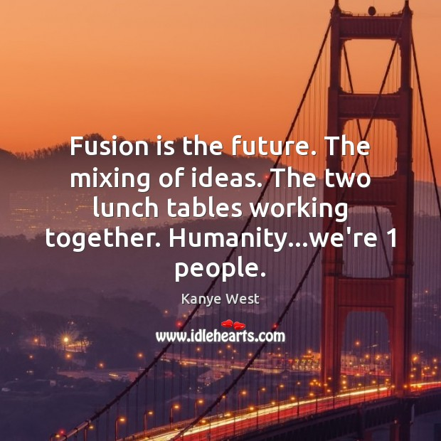 Fusion is the future. The mixing of ideas. The two lunch tables Image