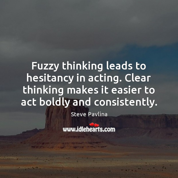 Image, Fuzzy thinking leads to hesitancy in acting. Clear thinking makes it easier