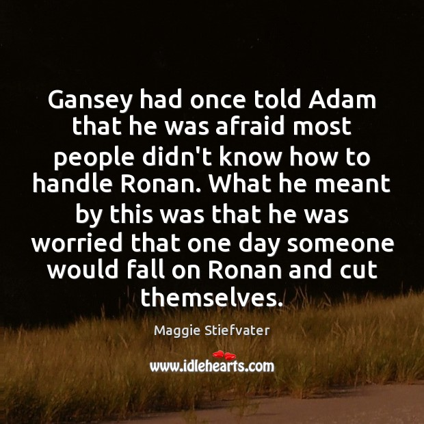 Image, Gansey had once told Adam that he was afraid most people didn't
