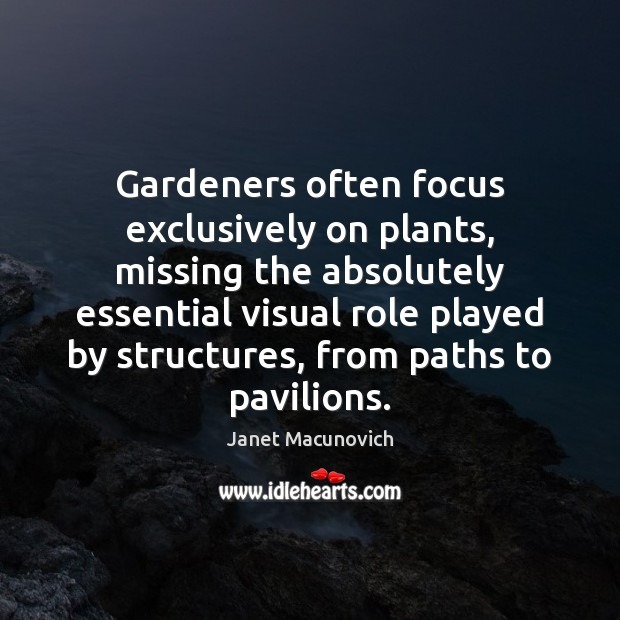 Gardeners often focus exclusively on plants, missing the absolutely essential visual role Janet Macunovich Picture Quote