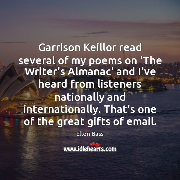 Garrison Keillor read several of my poems on 'The Writer's Almanac' and Image