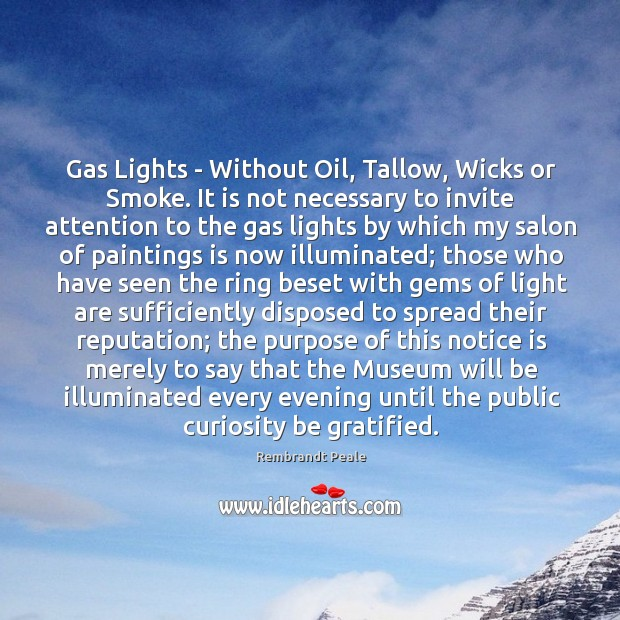 Gas Lights – Without Oil, Tallow, Wicks or Smoke. It is not Image