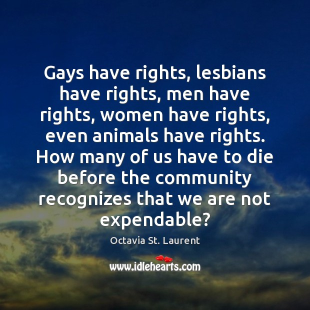 Gays have rights, lesbians have rights, men have rights, women have rights, Image