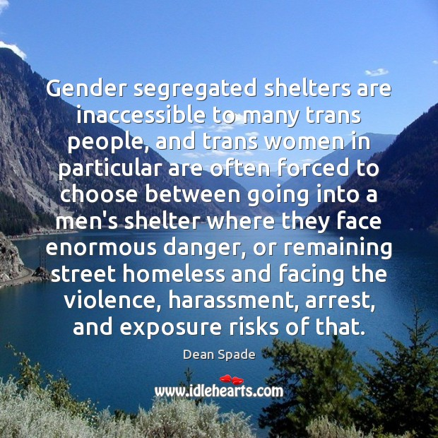 Gender segregated shelters are inaccessible to many trans people, and trans women Image
