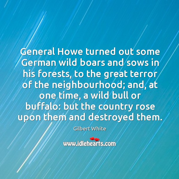 Image, General howe turned out some german wild boars and sows in his forests
