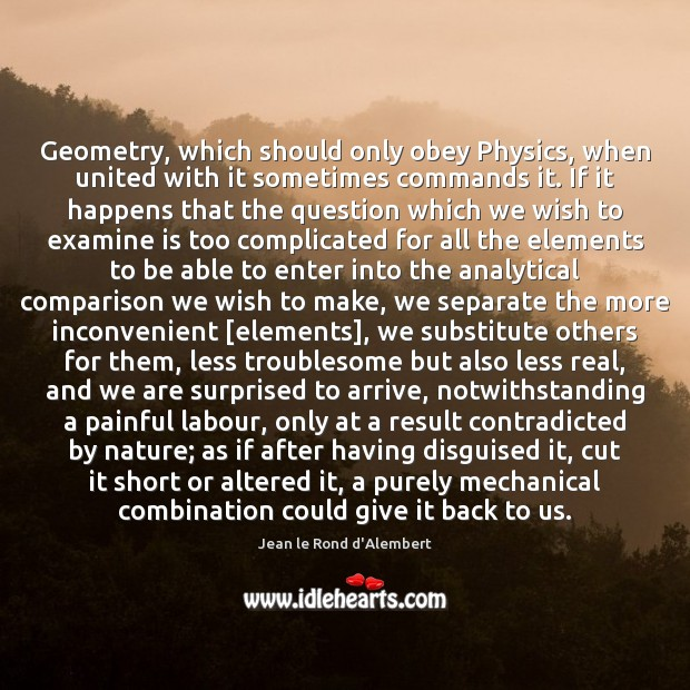 Geometry, which should only obey Physics, when united with it sometimes commands Image