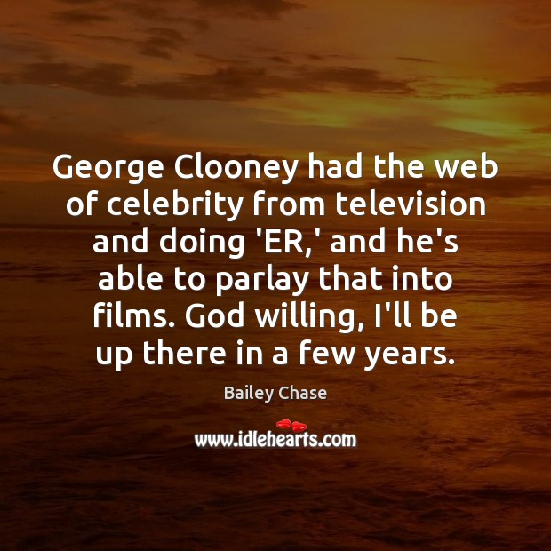Image, George Clooney had the web of celebrity from television and doing 'ER,
