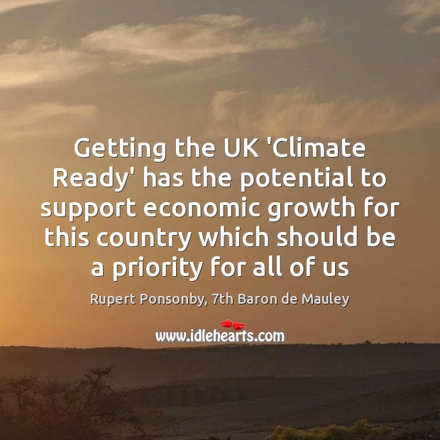 Getting the UK 'Climate Ready' has the potential to support economic growth Image