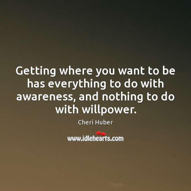 Image, Getting where you want to be has everything to do with awareness,