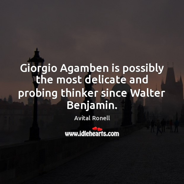 Image, Giorgio Agamben is possibly the most delicate and probing thinker since Walter Benjamin.