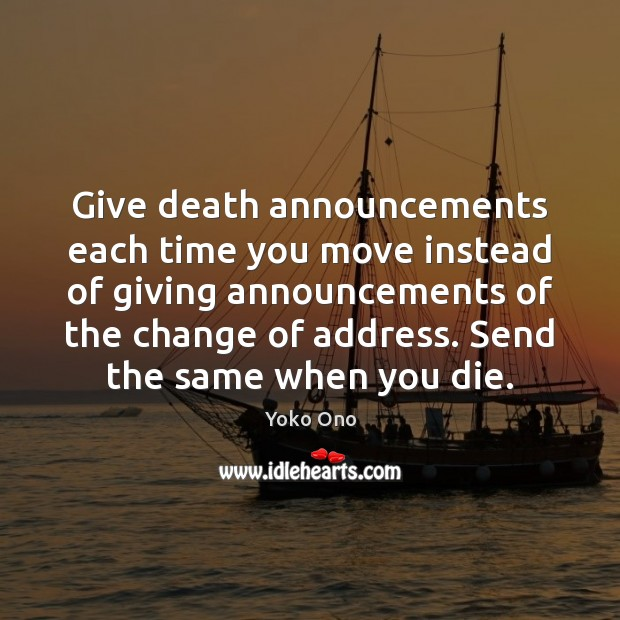 Give death announcements each time you move instead of giving announcements of Image