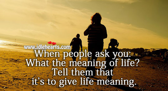 Meaning of life is to give it a meaning. Image