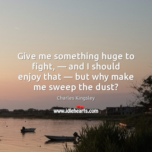 Give me something huge to fight, — and I should enjoy that — but Charles Kingsley Picture Quote