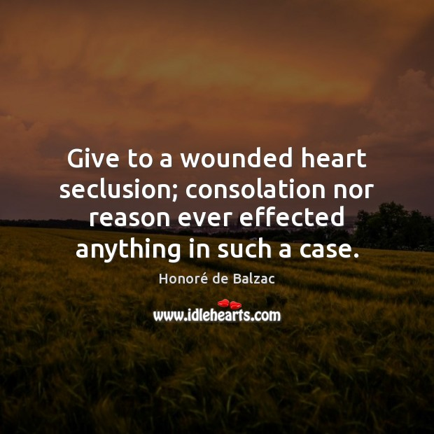 Give to a wounded heart seclusion; consolation nor reason ever effected anything Image