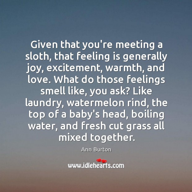 Image, Given that you're meeting a sloth, that feeling is generally joy, excitement,