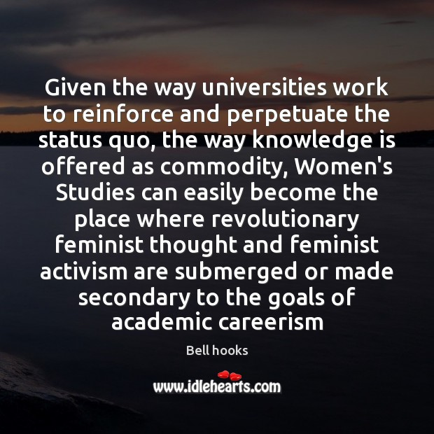 Image, Given the way universities work to reinforce and perpetuate the status quo,