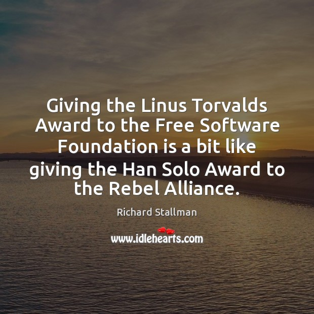 Image, Giving the Linus Torvalds Award to the Free Software Foundation is a