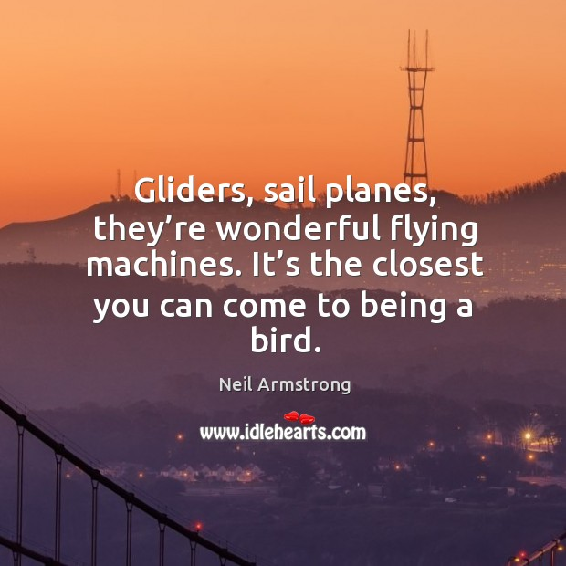 Gliders, sail planes, they're wonderful flying machines. It's the closest you can come to being a bird. Image