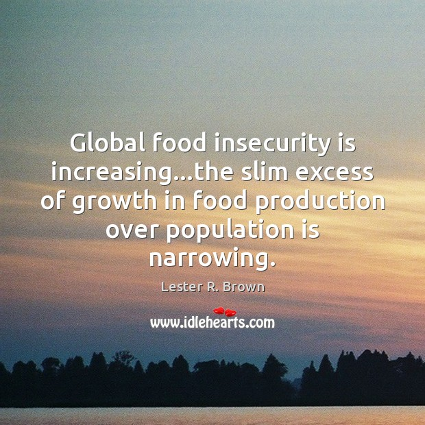 Global food insecurity is increasing…the slim excess of growth in food Lester R. Brown Picture Quote