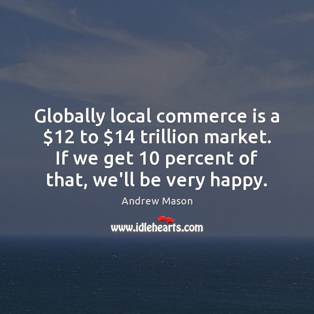 Image, Globally local commerce is a $12 to $14 trillion market. If we get 10 percent
