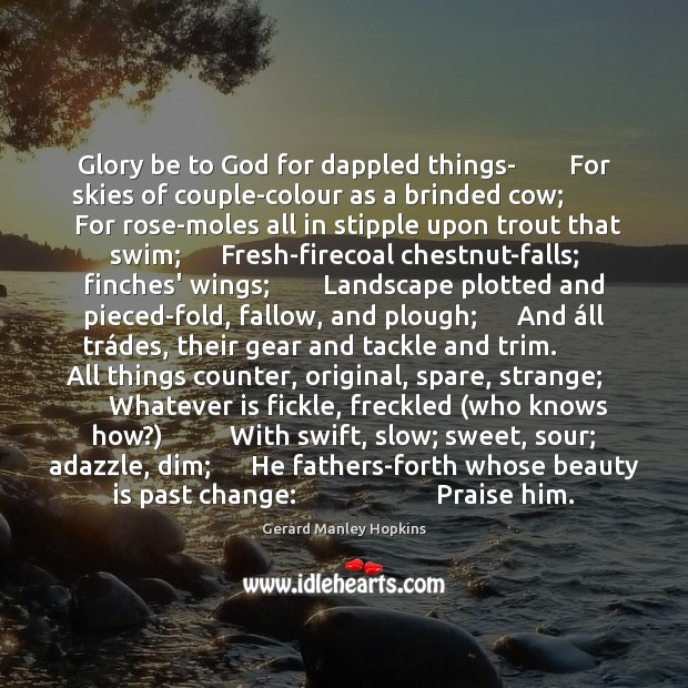 Glory be to God for dappled things-        For skies of couple-colour as Image