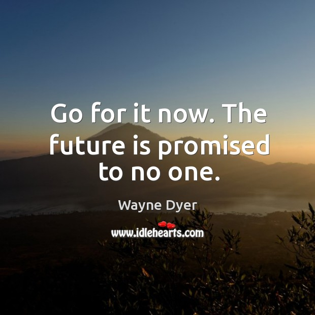 Go for it now. The future is promised to no one. Image