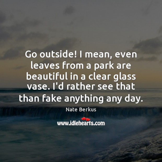 Go outside! I mean, even leaves from a park are beautiful in Nate Berkus Picture Quote