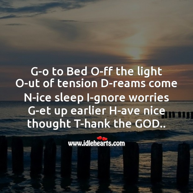 Image, G-o to bed o-ff the light o-ut of tension
