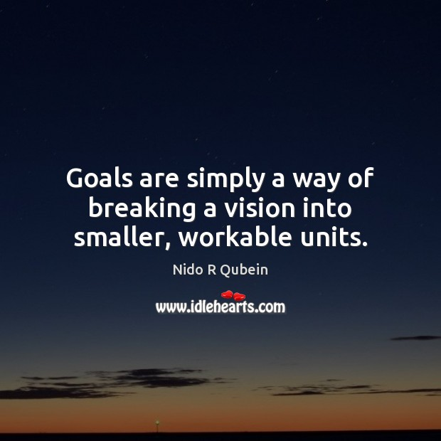 Goals are simply a way of breaking a vision into smaller, workable units. Nido R Qubein Picture Quote