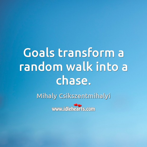Goals transform a random walk into a chase. Mihaly Csikszentmihalyi Picture Quote