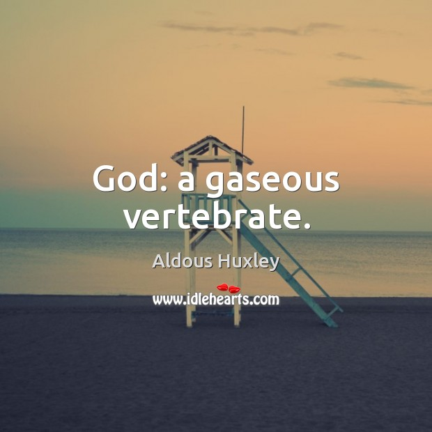 Image, God: a gaseous vertebrate.